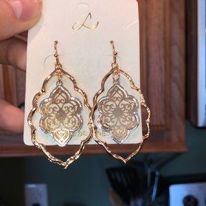 Jewelry - Two-Tone Metal Filigree Drop Earrings